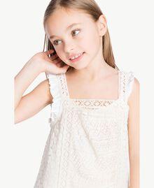 Kleid mit Spitze Zweifarbig Papyrusweiß / Chantilly Kind GS82Z3-05