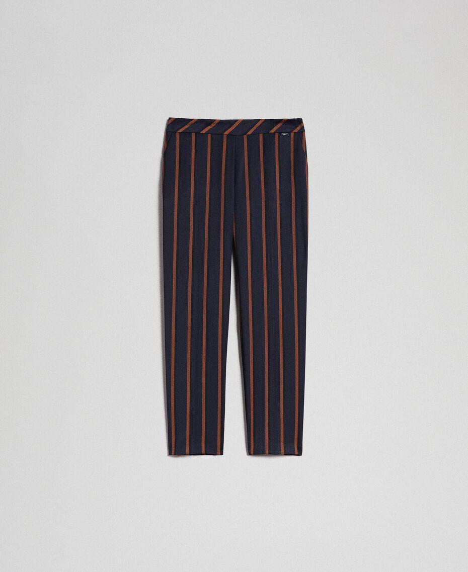 Pantaloni gessati a sigaretta Rigato Blu Notte / Terra Rossa Donna 192ST2232-0S