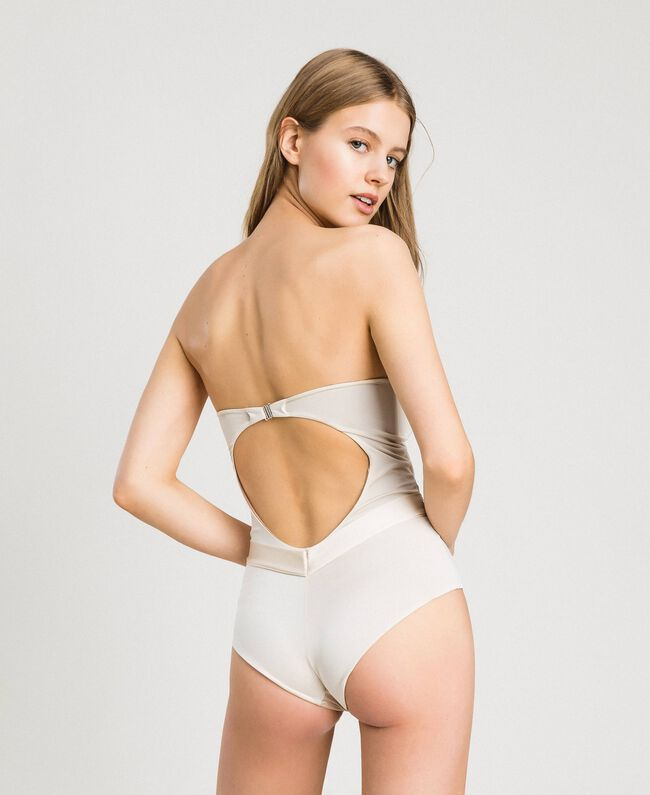 One-piece padded swimsuit with sequins Ivory Woman 191LMMCZZ-03