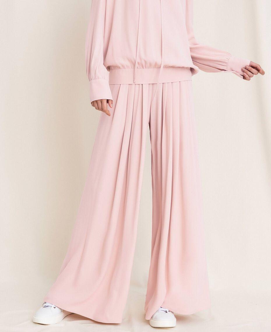 "Georgette palazzo trousers ""Peachskin"" Pink Woman 201LL2NCC-02"