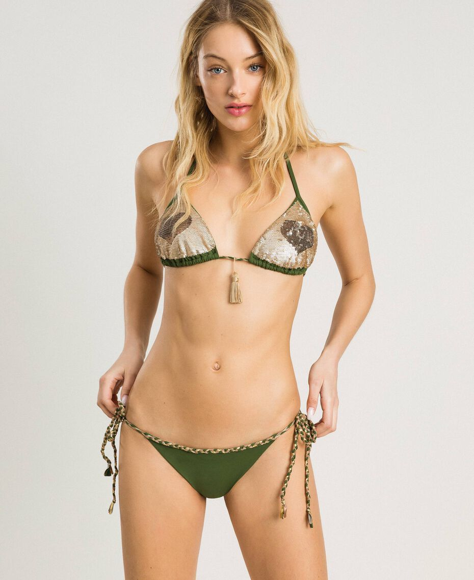 Bas de bikini tanga avec lacets torsadés Vert Amazone Femme 191LMMC88-02
