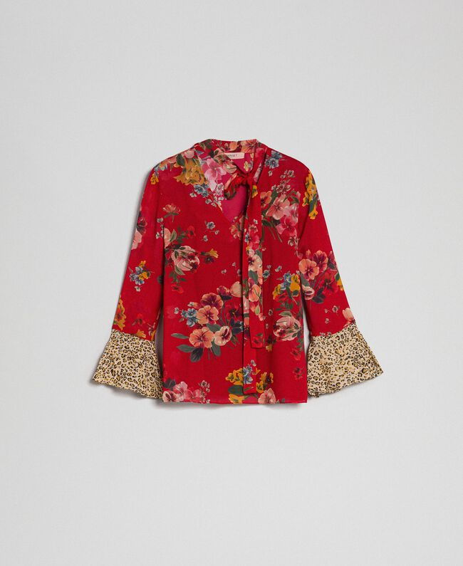 516ac2ac6eb2a7 Floral and animal print blouse Pomegranate Meadow Print Woman 192TP2751-0S