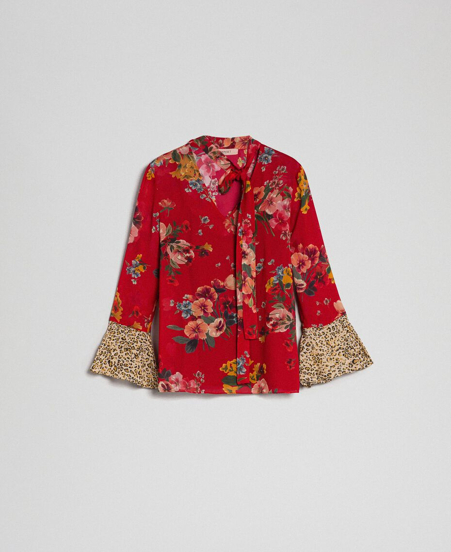 1d671a65dbbd Floral and animal print blouse Woman, Red | TWINSET Milano
