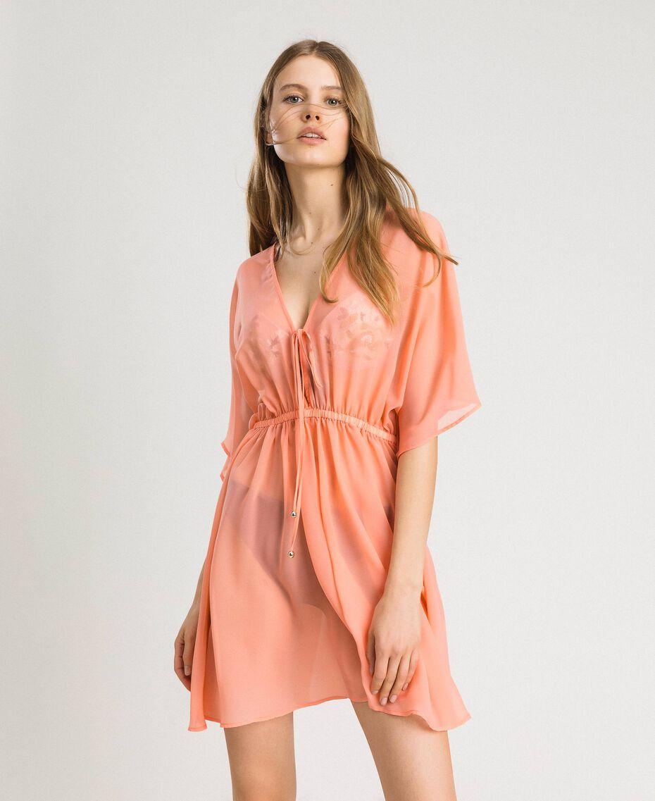 """Caftan en mousseline de soie Rose """"Crème De Tangerine"""" Femme 191LB2KDD-01"""