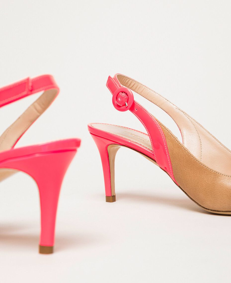 """Patent leather and leather slingback court shoes Two-tone """"Desert"""" Beige / Fluo Fuchsia Woman 201TCP010-02"""