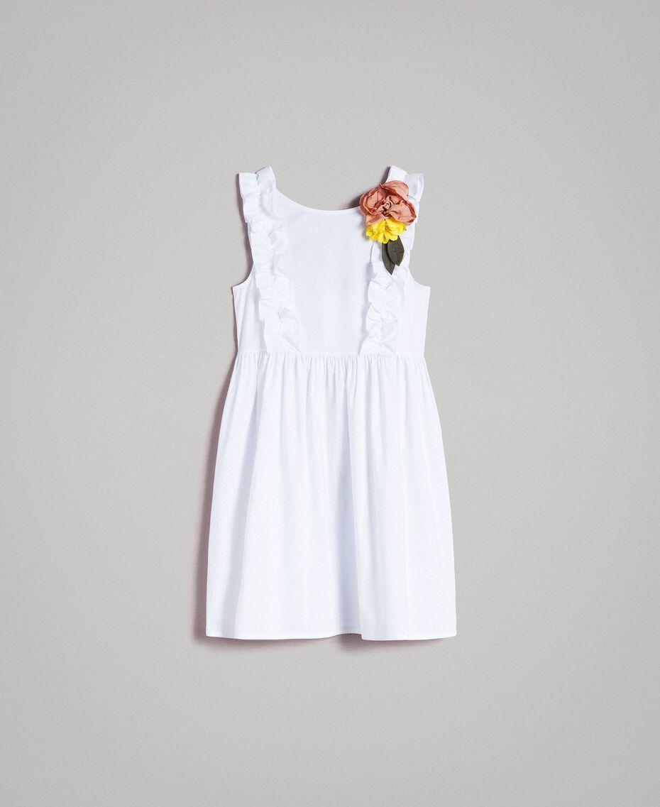 Popeline-Kleid mit Rüschen und Brosche Weiß Frau 191MT2050-0S