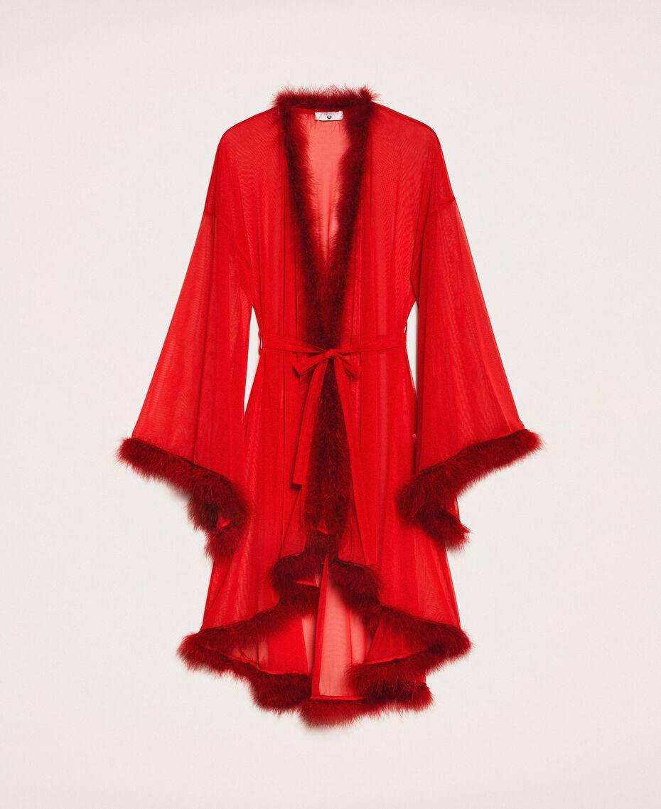 Vestaglia in tulle con piume Rosso Melograno Donna 201LL23WW-0S