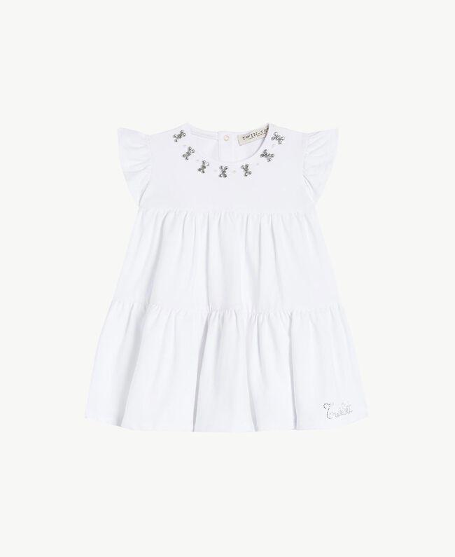 "Rhinestone dress ""Papers"" White Child FS823A-01"