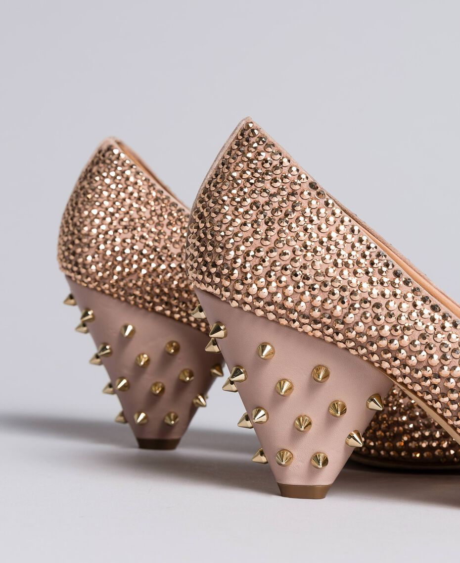 "Suede rhinestone-clad court shoes ""Pale Pink"" Woman CA8TLC-02"
