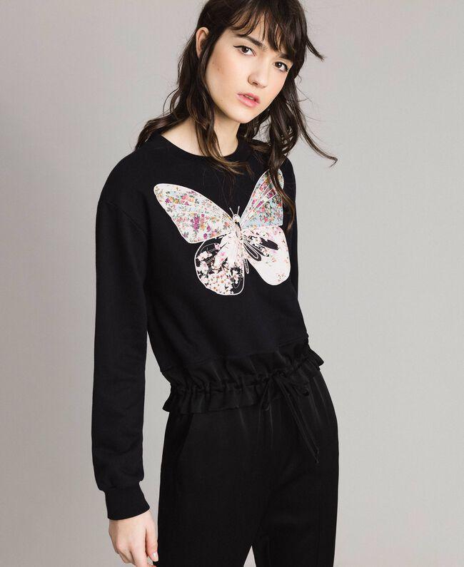 Sweatshirt mit Stickschmetterling Schwarz Frau 191TP2594-01