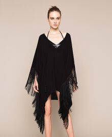 Kimono-style kaftan with fringes Black Woman 201LB2CLL-01