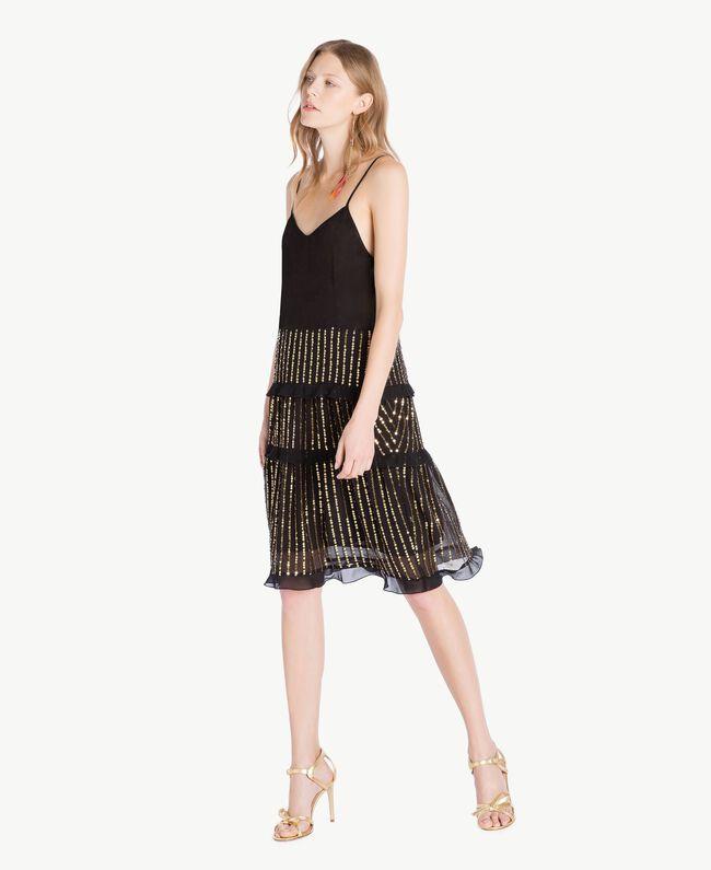 Kleid und Bluse mit Pailletten Schwarz Frau TS82WP-05