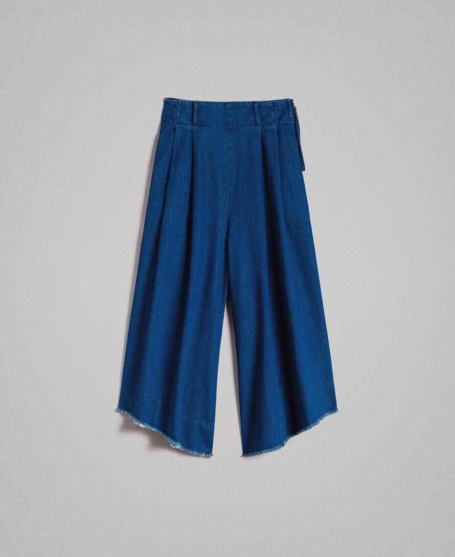 Jean à coupe large et taille haute Bleu Denim Femme 191MT2422-0S