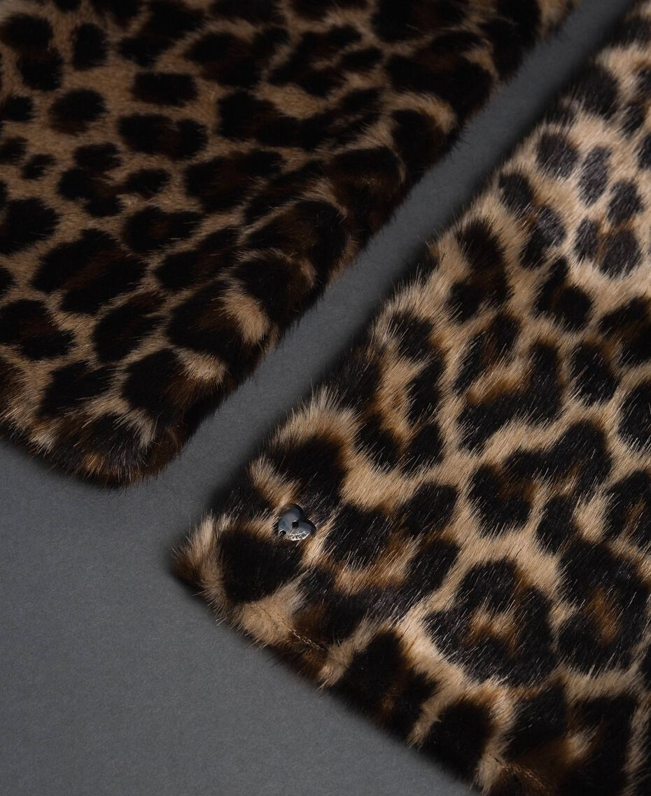Animal print faux fur stole Animal print Woman 192MA4360-02