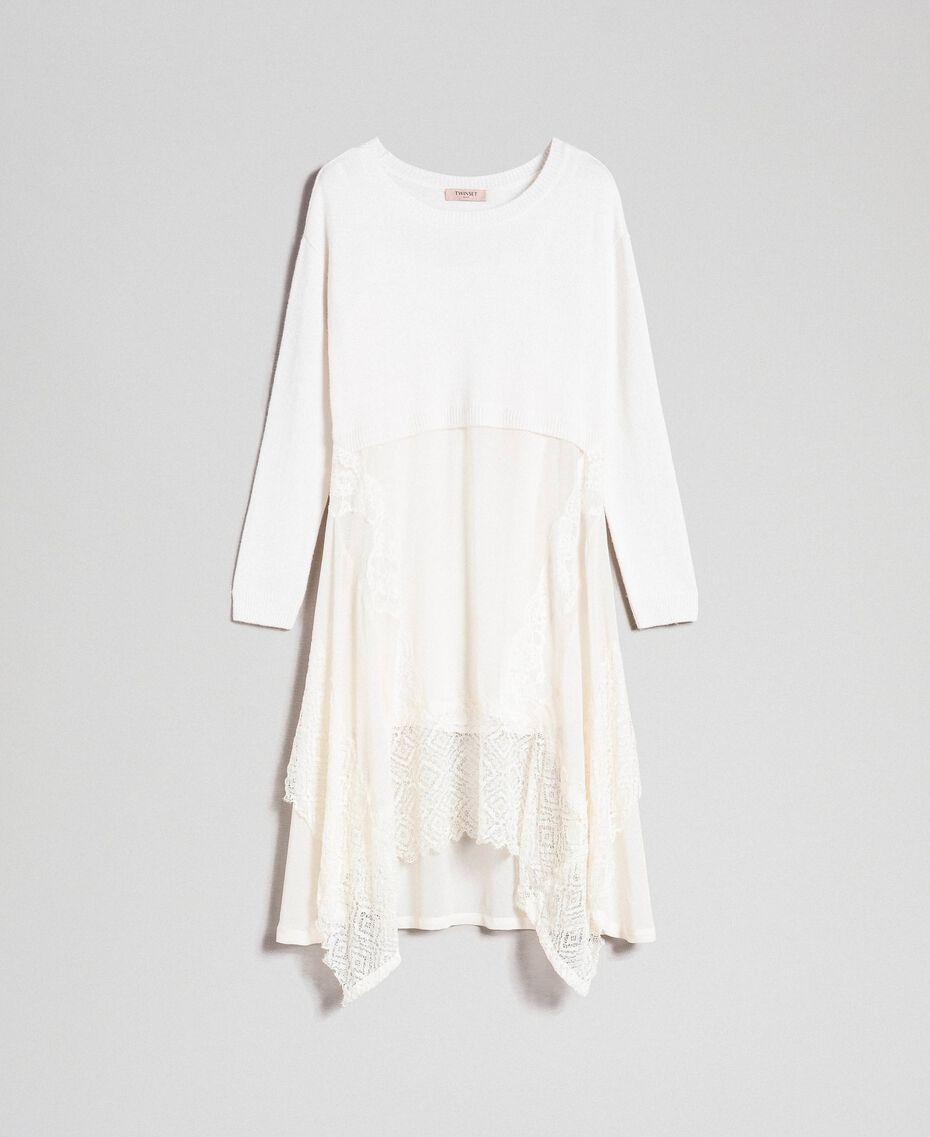 Robe en maille avec crêpe georgette et dentelle Blanc Neige Femme 192TT3081-0S