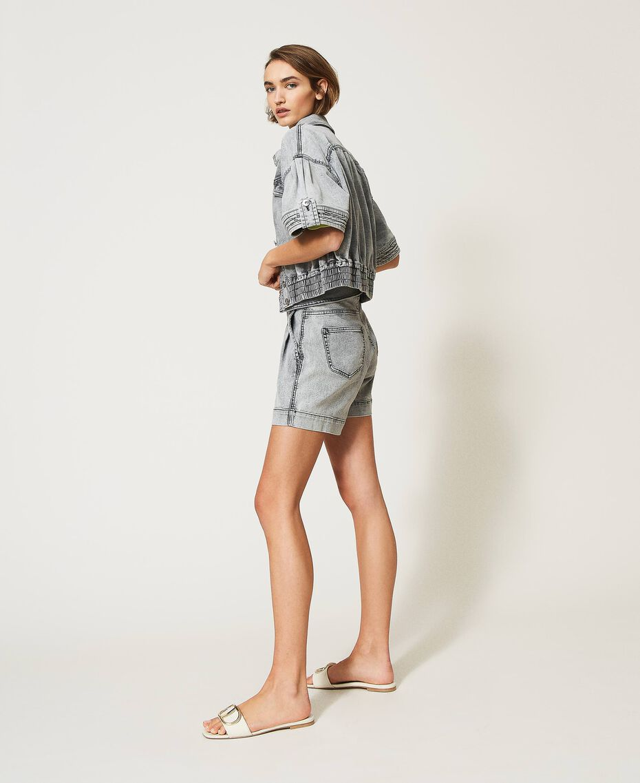 High waist denim shorts Grey Denim Woman 211MT2567-02