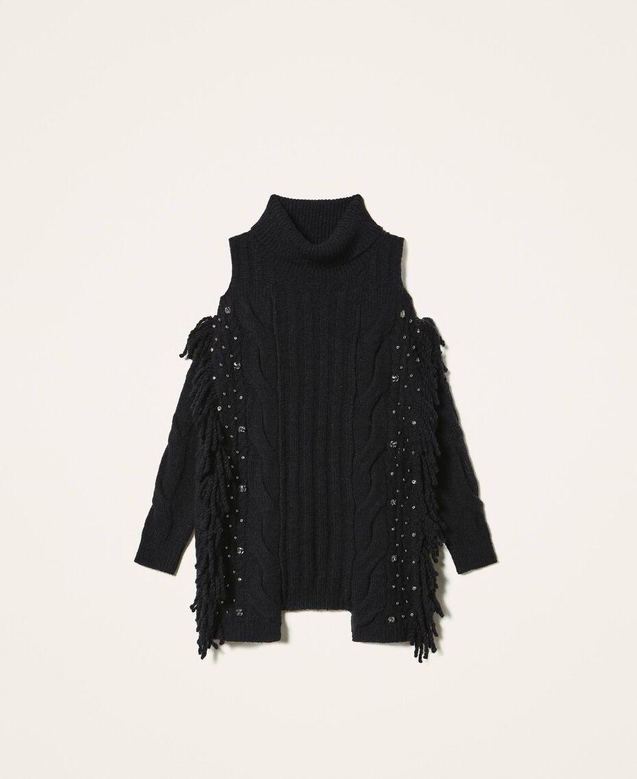 Maxi pull en laine et alpaga avec broderie Noir Femme 202TT3353-0S