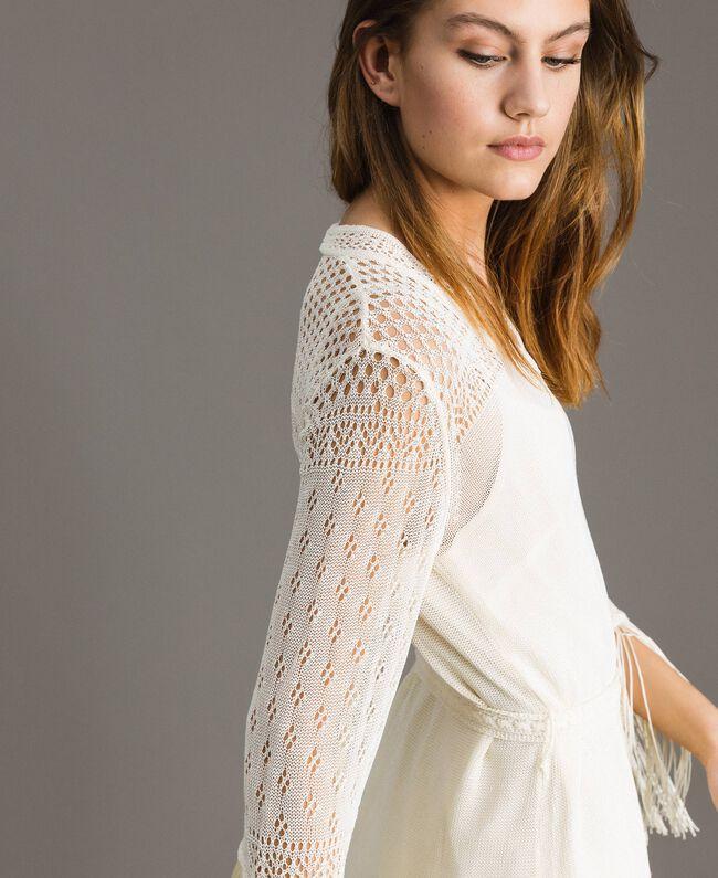 Mesh stitch fringed dress Ecrù Woman 191TT3060-05