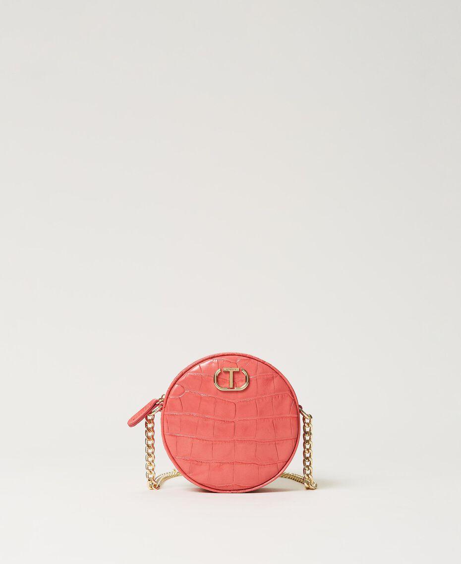 "Leather shoulder bag with crocodile print ""Neon"" Pink Croc Print Woman 211TD8034-02"