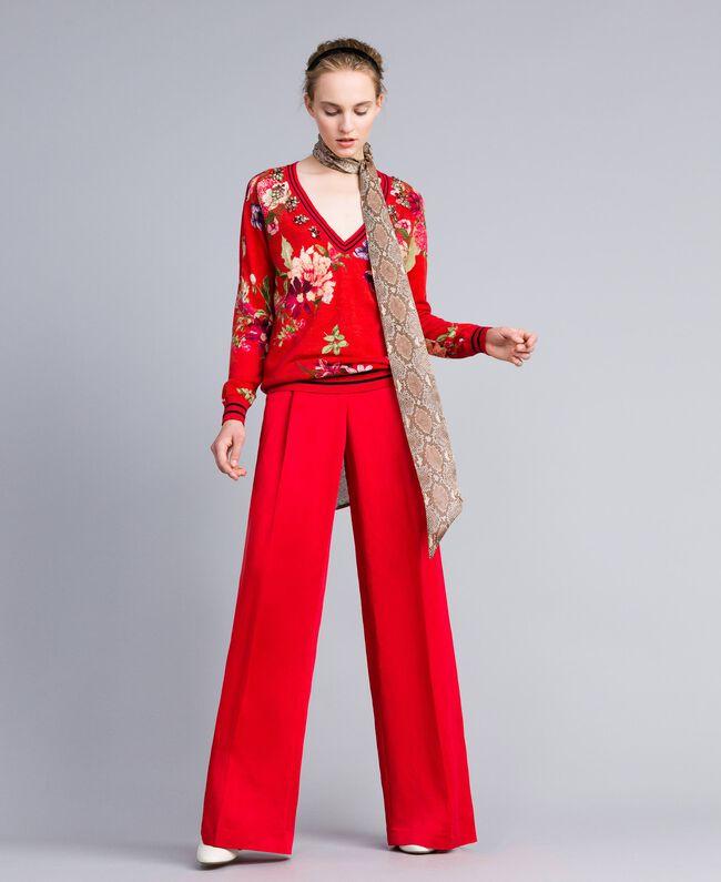 Pull en laine imprimée avec strass Imprimé Jardin Rouge Femme PA83KA-01