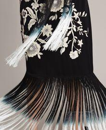 Robe longue avec broderies florales et franges Noir Femme 191TT2134-04