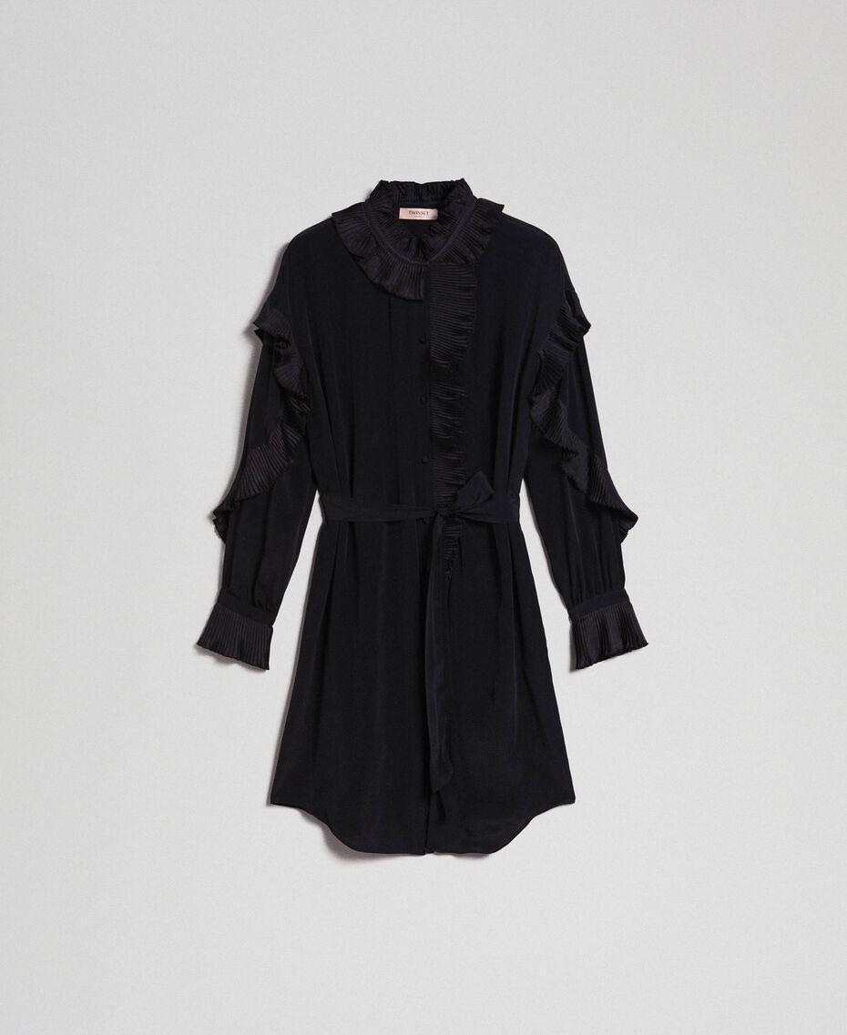 Kleid aus Crêpe de Chine aus Seidenmischung Schwarz Frau 192TP2101-0S
