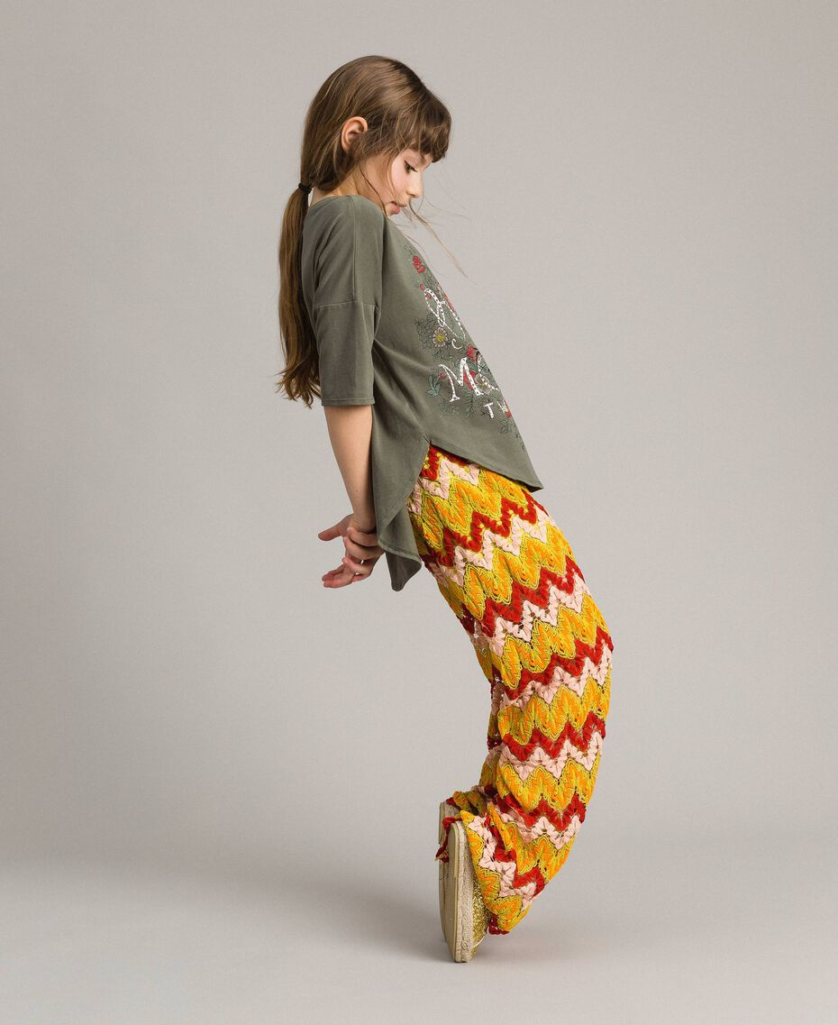 Multicolour jacquard trousers Multicolour Jacquard Child 191GJ2272-02