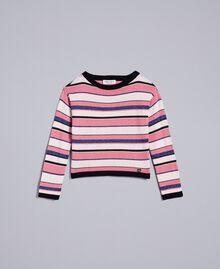 Lurex jacquard jumper Multicolour Stripe Jacquard Child GA83EB-01