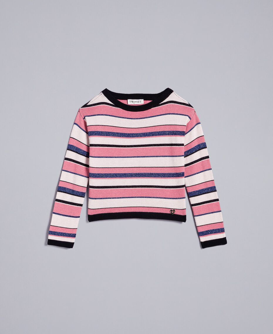 Pullover aus Lurexjacquard Mehrfarbig gestreifter Jacquard Kind GA83EB-01
