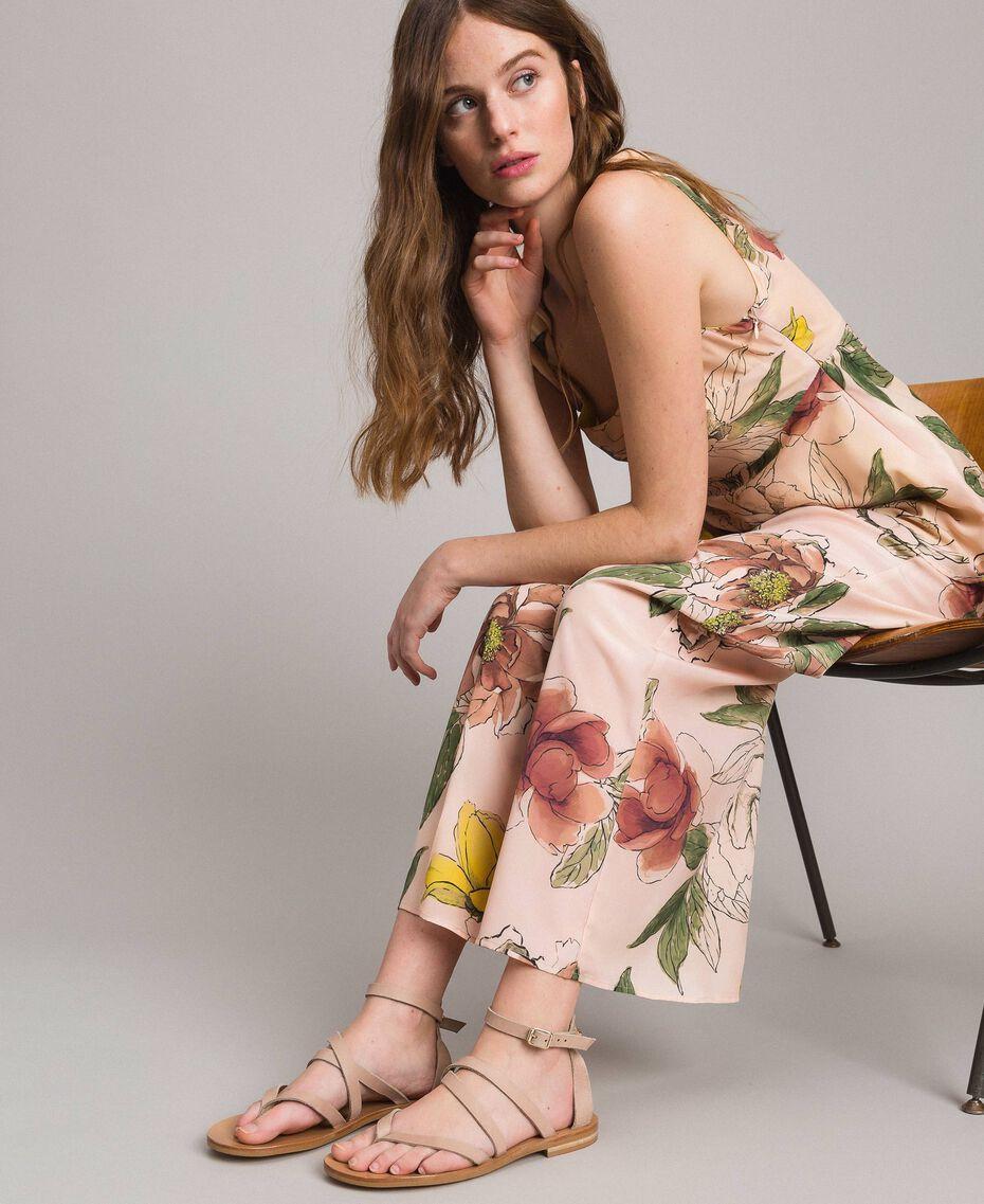 Leder-Sandalen mit Riemchen Nougat Beige Frau 191TCT09U-0S