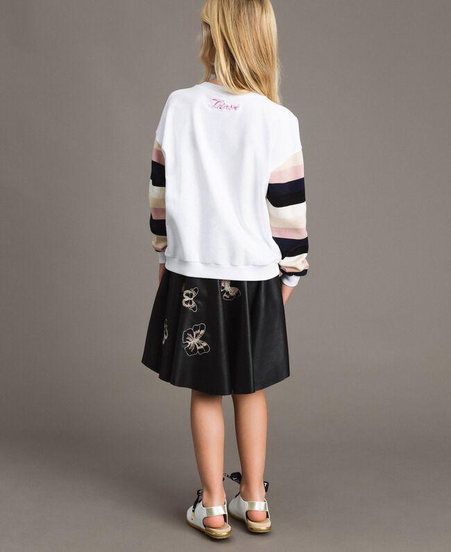 Geknüpfter gestreifter Baumwoll-Pullover Streifen Optisch Weiß / Multicolour Kind 191GJ2451-04