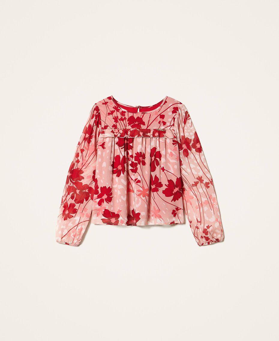 Bluse aus Georgette mit Blumendessin Blumen-Animal-Dessin Pfirsich / Kirschrot Kind 202GJ262B-0S