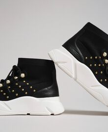 Knit running shoes with pearls and studs Black Woman 192TCP062-03