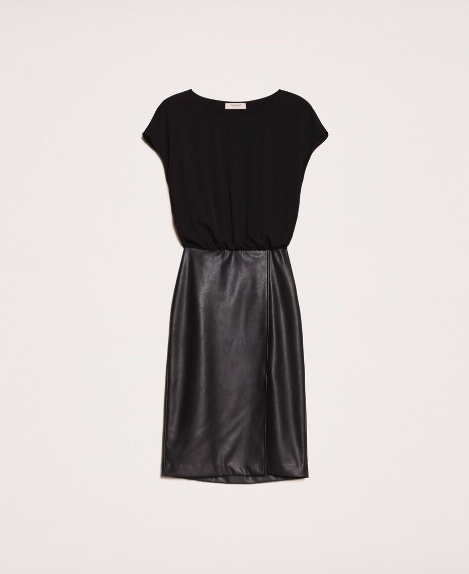 Faux leather and crêpe de Chine dress Black Woman 201TP2122-0S