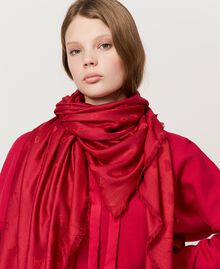Kefiah with hearts and jacquard logo Cherry Red Woman 202TA4402-0S
