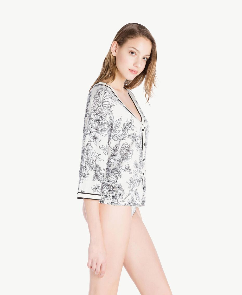 Printed cardigan Optical White Macrofloral Print Woman LS8DEE-03