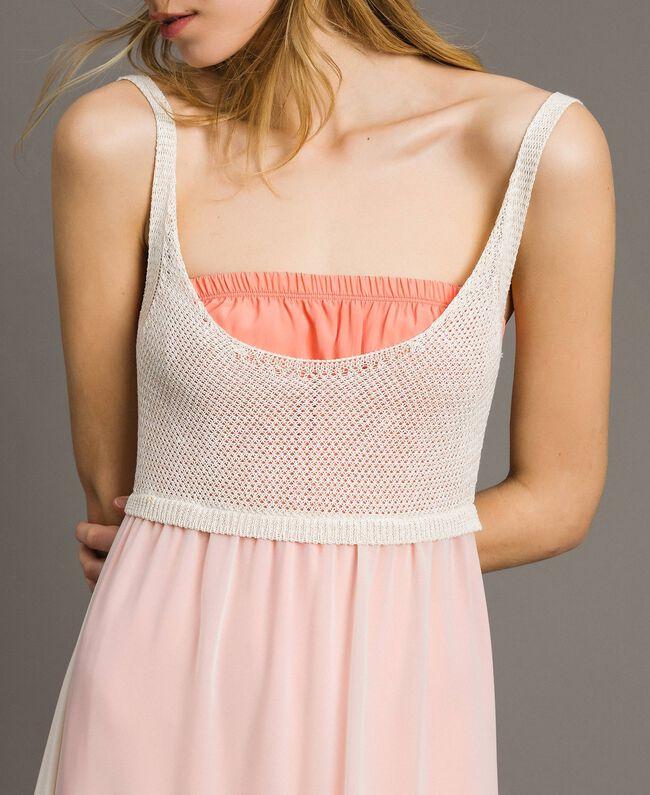 "Long chiffon and knit dress ""Milkway"" Beige Woman 191LB2KBB-04"