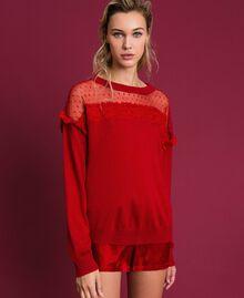Maglia in misto angora con tulle e pizzo Rosso Ardente Donna 192LL3CUU-04