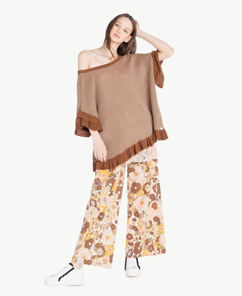 "Mesh poncho Two-tone ""Toffee"" Brown / ""Amphora"" Brown Woman SS83CQ-06"