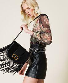 Leather shoulder bag with fringes Black Woman 212TB7120-0S