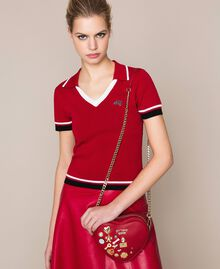 Faux leather heart shaped shoulder bag Venetian Red Woman 201MA7053-0S