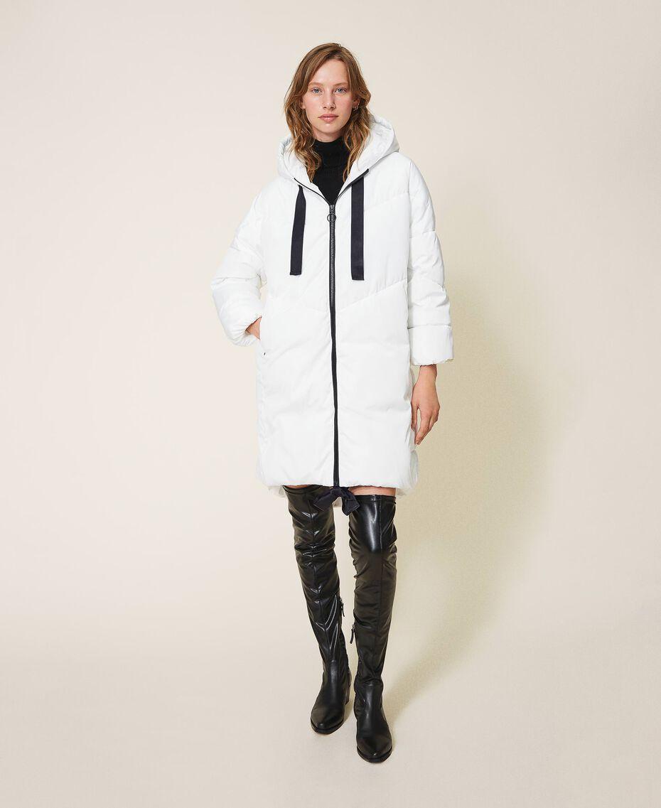 Long puffer jacket with drawstring Ivory Woman 202LI2AAA-02