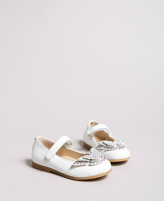 Leather ballerina shoes with butterfly White Child 191GCB130-01
