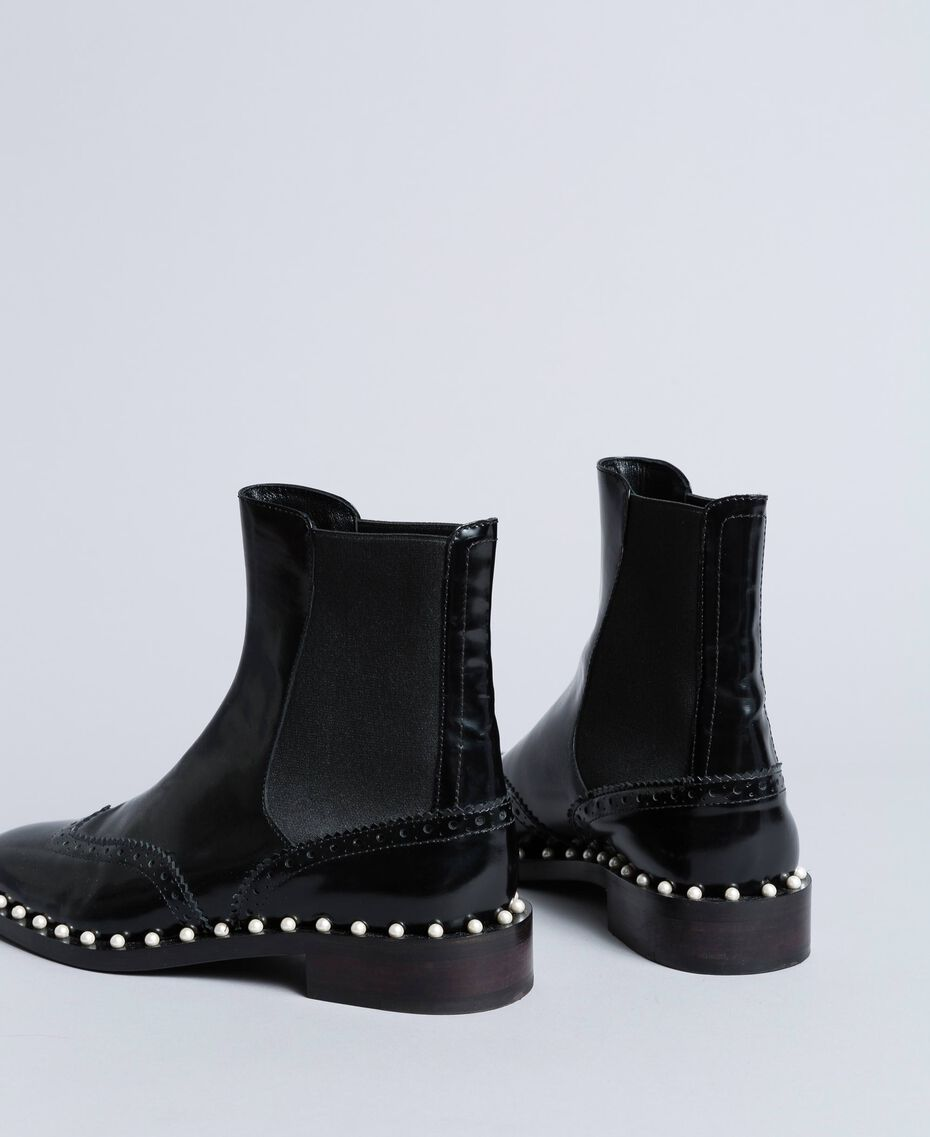 Beatle-Boots aus Leder mit Zierperlen Schwarz Frau CA8PKN-02