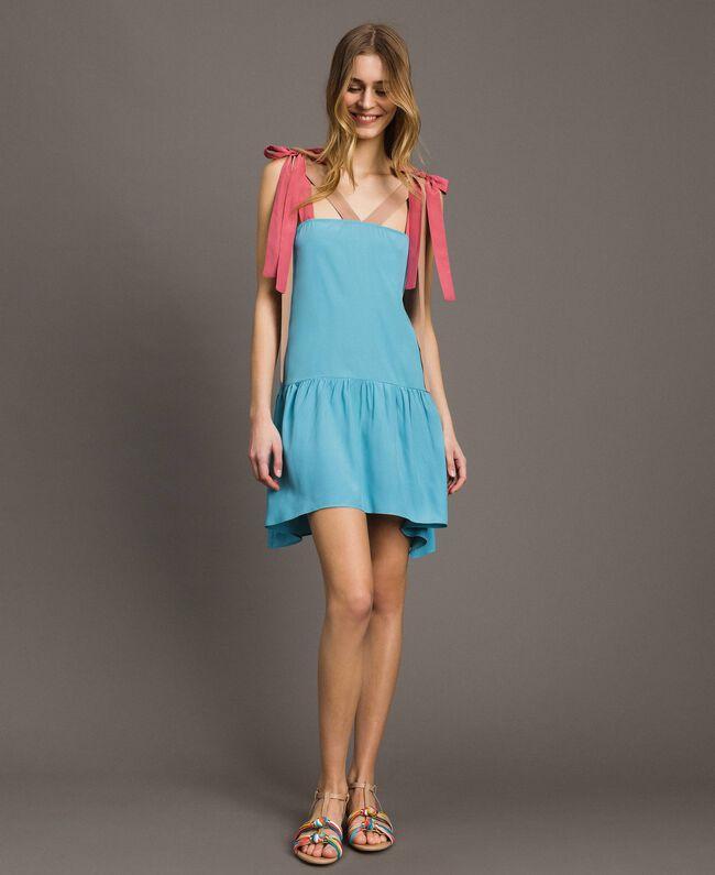 """Colour block mini dress Multicolour """"Tender Rose"""" Pink / Daylight Blue / Porcelain Beige Woman 191LM2HMM-01"""