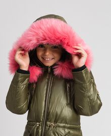 Hooded puffer jacket with faux fur Alpine Green Child 192GJ2072-05