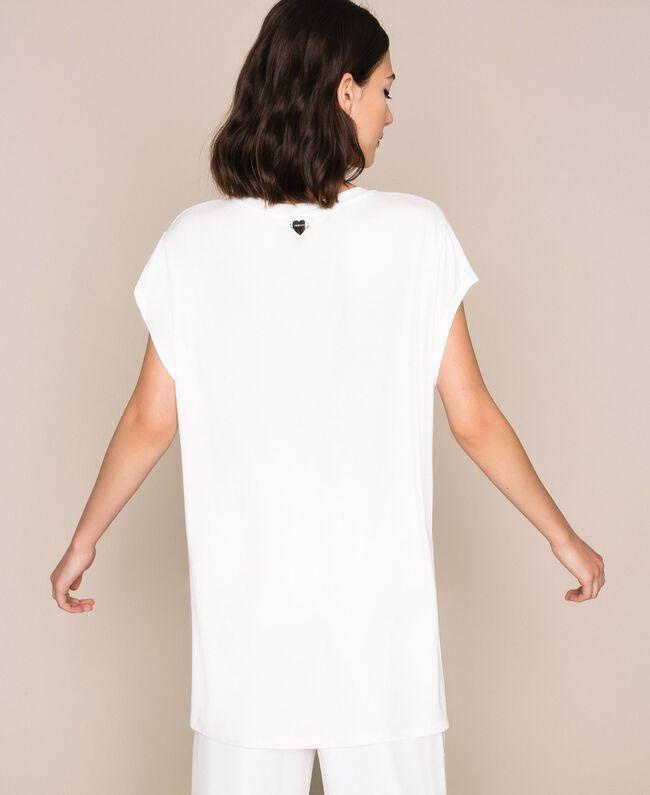 Maxi T-shirt with multicolour rhinestones Ivory Woman 201LB2ADD-04