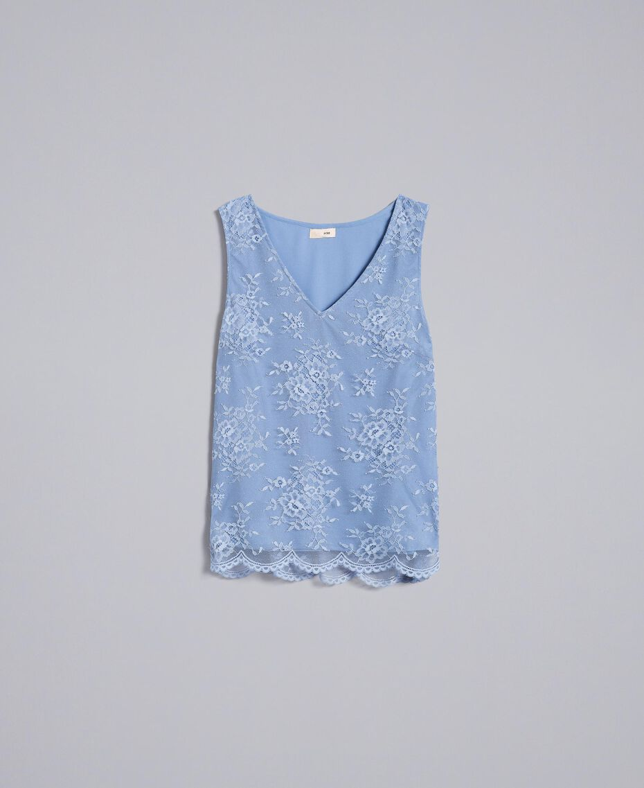 Top en dentelle avec feston Bleu ciel Femme SA82HN-0S