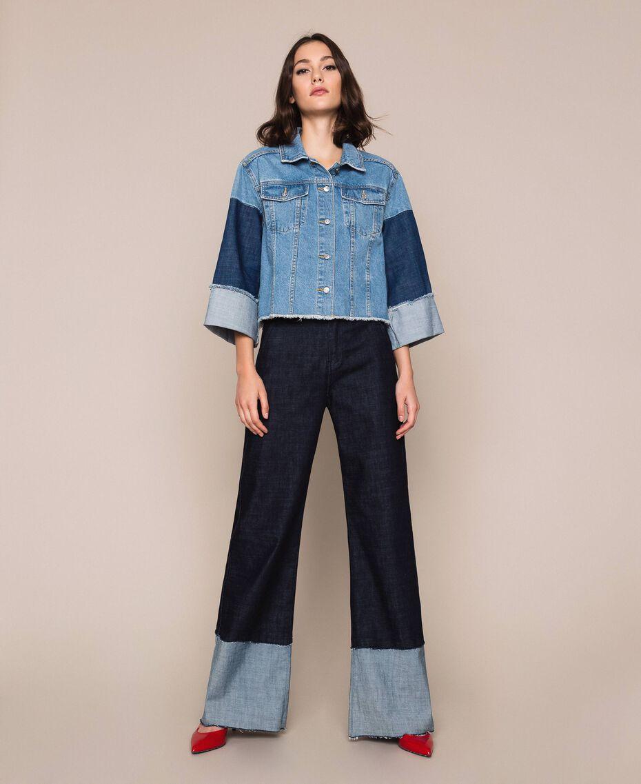 Свободные прямые джинсы с высоким отворотом Синий Деним женщина 201MP2340-01