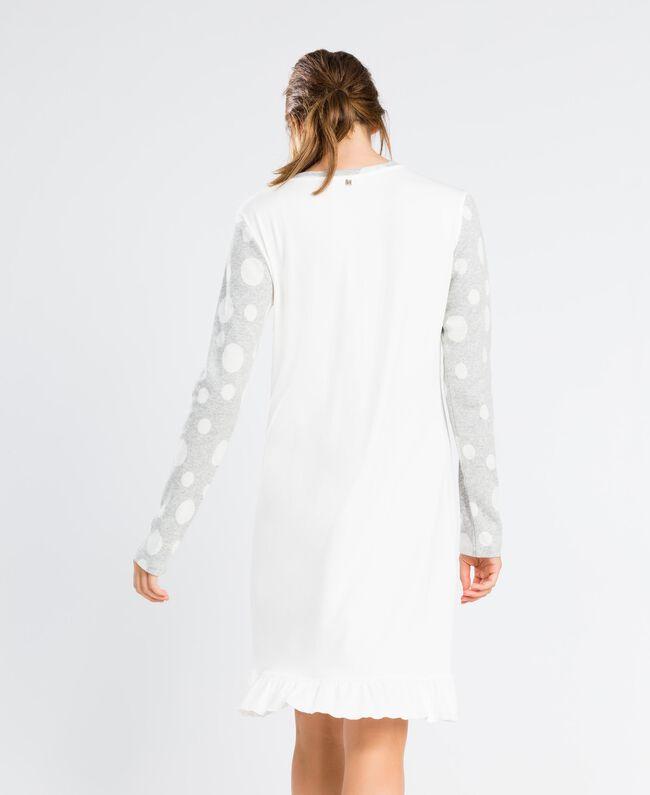 Nachthemd aus Baumwollmischung Zweifarbig Tupfen Grau / Elfenbein Frau LA8UBB-03